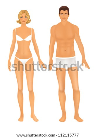 Female  and Male body front.  Basic figure proportions - mannequins. - stock vector