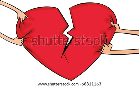 Female and man's hands with broken heart - stock vector