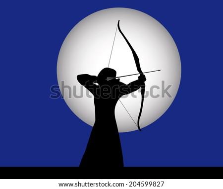 female archer archery on a dark blue background - stock vector
