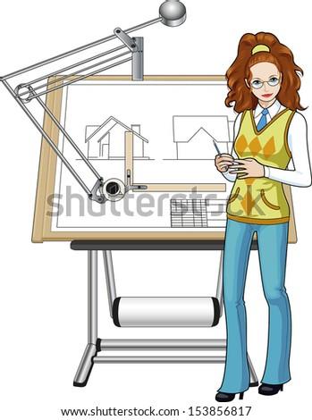 Female architect of caucasian race presenting her blueprint - stock vector