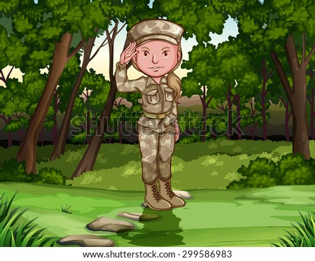 Female army soldier in forest illustration - stock vector