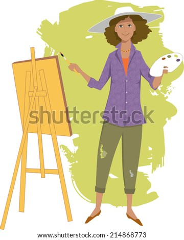 Female artist painting with an easel - stock vector