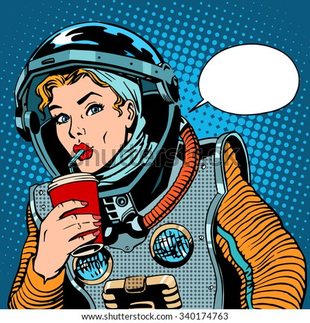 Female astronaut drinking soda pop art retro style - stock vector