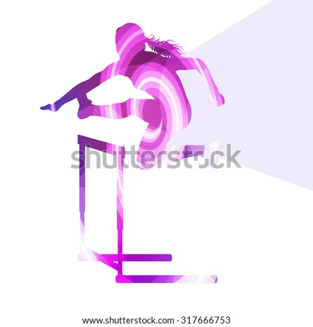 Female athlete clearing hurdle, race silhouette illustration, vector background, colorful concept made of transparent curved shapes - stock vector