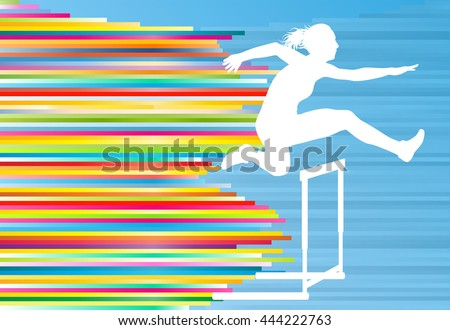 Female athlete jumping over hurdles, overcoming obstacles vector background illustration - stock vector