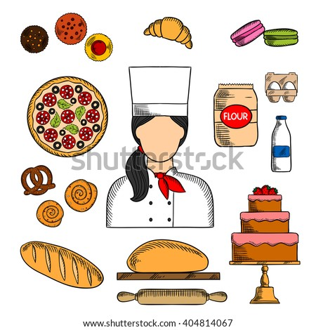 Female baker in chef uniform with sketch icons of chocolate cake, topped with strawberries, cupcakes, bread, italian pizza, croissant, macarons, cinnamon rolls, pretzel, dough, milk, flour and eggs - stock vector