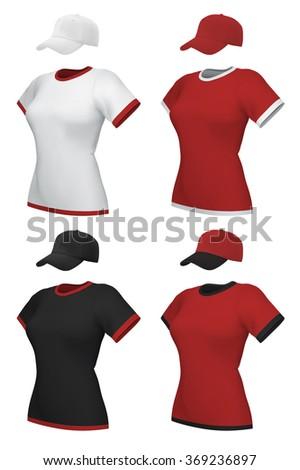 Female blank uniform polo and baseball cap template set. - stock vector