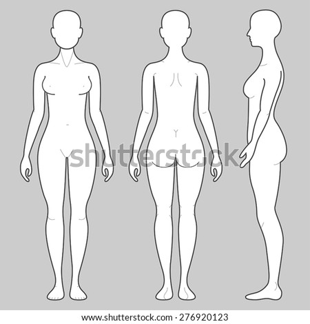 Female Body from three angles - stock vector