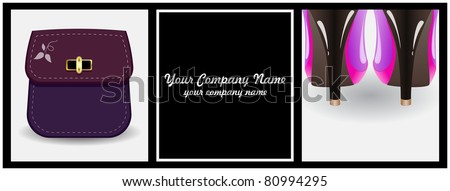 Female boots with high heels and handbags enclosed in a black frame with space for inscriptions - stock vector