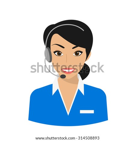 Female call centre operator wearing headset. Flat moderm style isolated on white background - stock vector