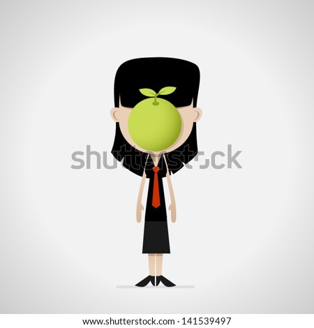 female cartoon office worker with apple - stock vector