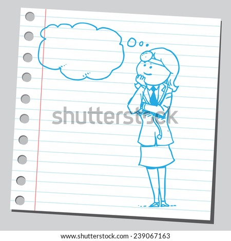 Female doctor thinking - stock vector