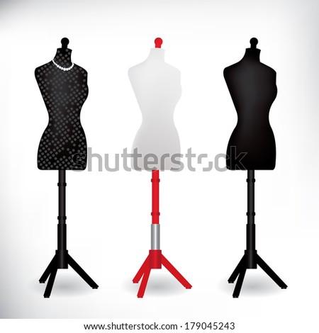 Female Dressmakers Mannequin black and white - stock vector
