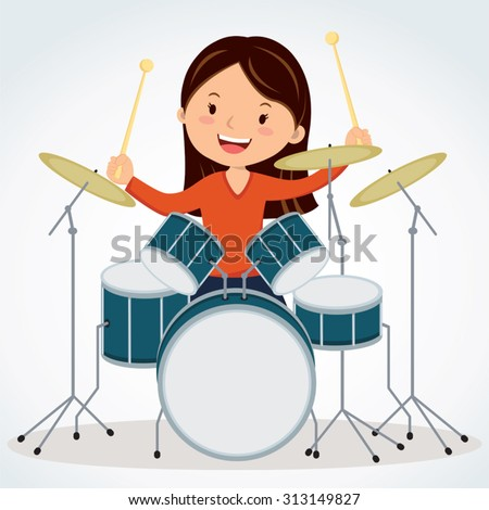Female drummer. Vector illustration of a young woman playing drums. - stock vector