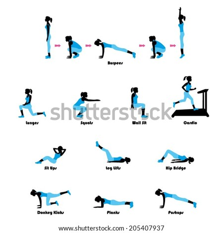 Female exercising silhouette. Keep fit exercise. - stock vector