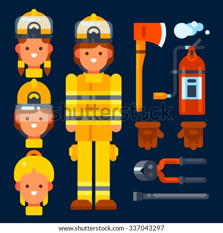 Female firefighter her stuff: fire axe, fire extinguisher, gloves,wirecutter, crowbar. Vector flat illustration. Isolated objects. - stock vector