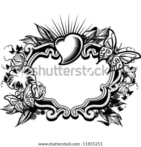 female floral frame monochrome - stock vector