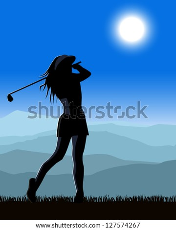 Female golfer playing a round of golf - stock vector