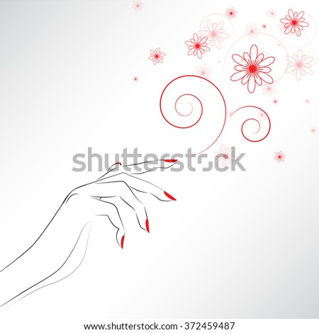 Female hand with painted nails, red manicure symbol. Vector illustration. - stock vector