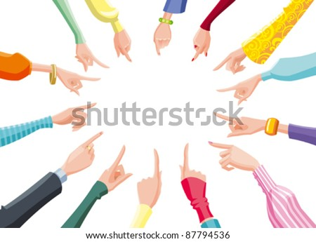 female hands in clothes of different fashion styles pointing to the center of a circle - stock vector