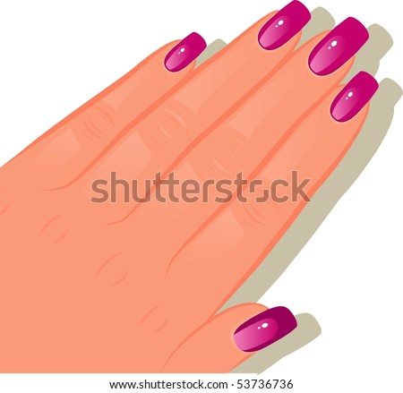 Female hands with manicured - stock vector
