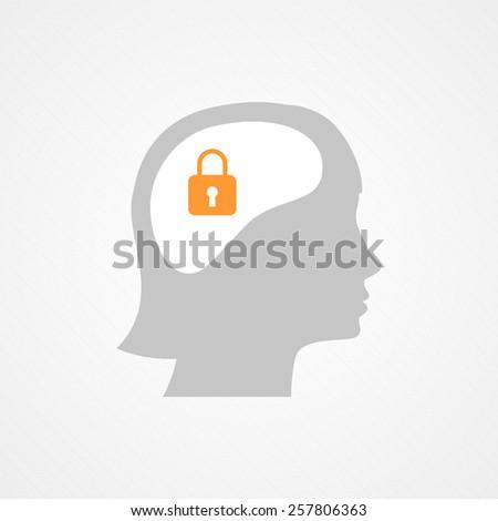 Female head and lock - stock vector