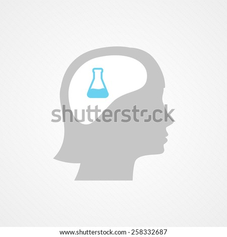 Female head and test tube - stock vector