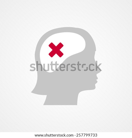 Female head and wrong check mark - stock vector