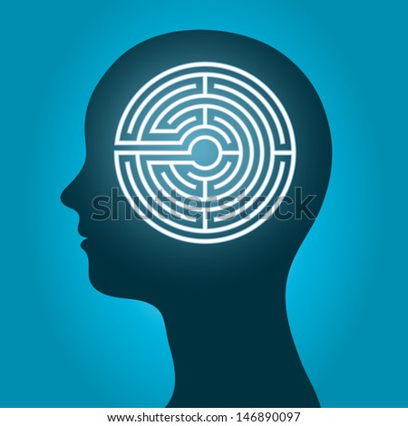 Female head with a labyrinth - stock vector