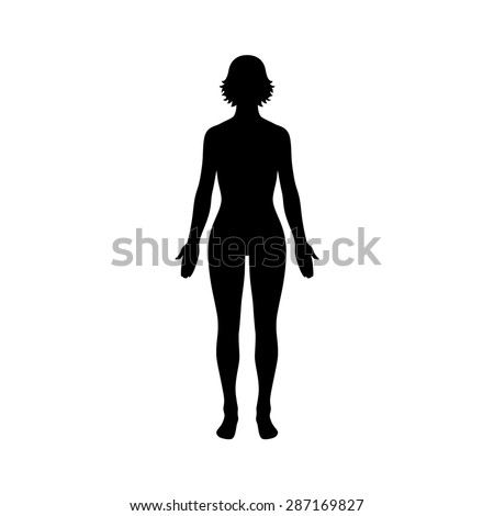 Female human body flat icon for apps and website - stock vector
