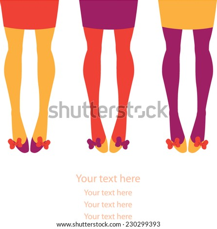 Female legs in brightly colored stockings - stock vector