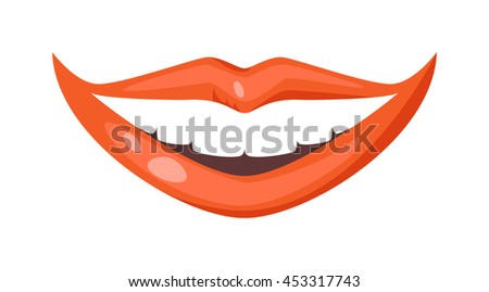 Female lips isolated on white background. Passion makeup mouth. Woman lips romance cosmetic sensuality desire. Set of mouth smile woman red sexy woman lips isolated shape romantic print emotions - stock vector