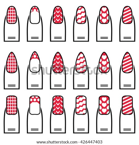 Female manicure  gel & hybrid  including shapes like almond, square, rounded nails with plain nail polish, French manicure, zig zag elements, waves,  decorative dots, hearts diagonal lines in color  - stock vector