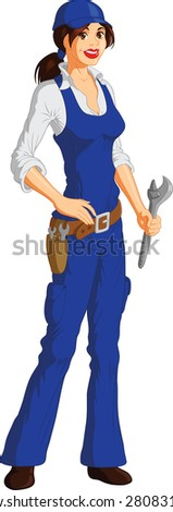 Female Mechanic - stock vector