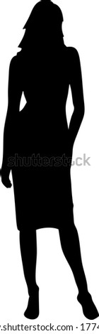 Female model silhouette, black and white color, very clean illustration, ready to use. I hope you enjoy! - stock vector