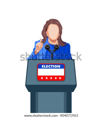 Female politician giving an election campaign speech - stock vector