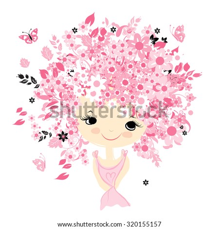 Female portrait with floral hairstyle for your design, vector illustration - stock vector
