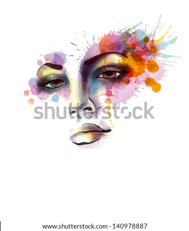 Female portrait with grungy splashes - stock vector