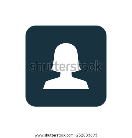 female profile icon Rounded squares button, on white background  - stock vector