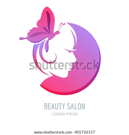 Female profile in circle shape. Woman with purple butterfly in hair. Vector beauty logo, label design elements. Woman face symbol. Trendy concept for beauty salon, massage, spa, natural cosmetics. - stock vector