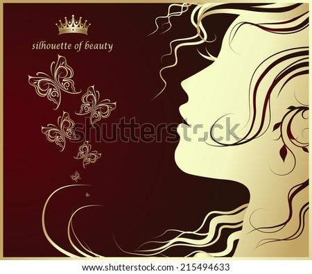 female profile, Silhouette of beautiful girl - stock vector
