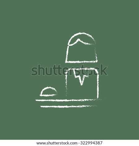 Female receptionist hand drawn in chalk on a blackboard vector white icon isolated on a green background. - stock vector