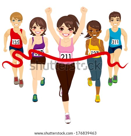 Female runner winning a marathon against other active competitors touching red finish line - stock vector