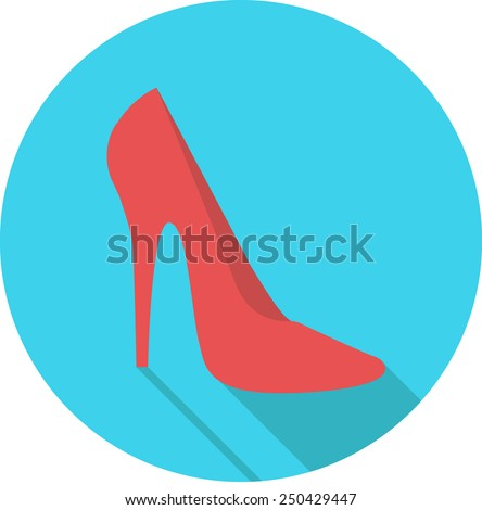female shoes heeled, web flat design icon. vector. - stock vector