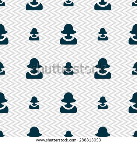 female silhouette icon sign. Seamless pattern with geometric texture. Vector illustration - stock vector