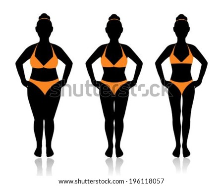 female silhouette in a bathing suit at a different weight and the effect of diet  - stock vector