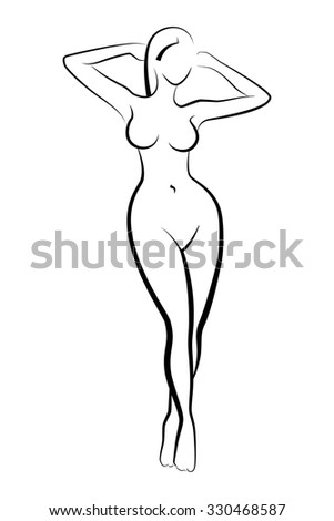 Female silhouette in a bathing suit. Simple lines. Ink drawing. Black and white. - stock vector