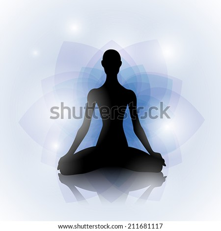 Female silhouette in yoga pose on abstract lotus background - stock vector