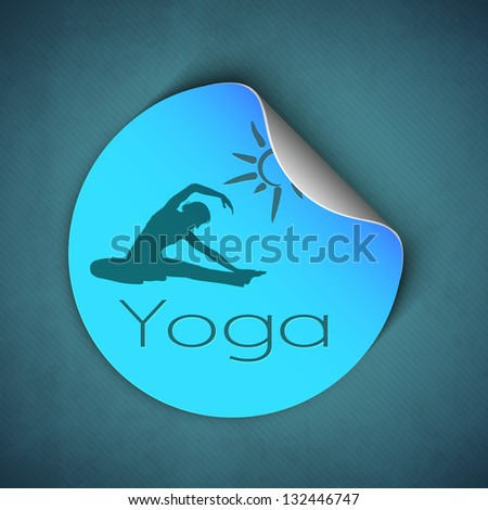 Female silhouette in yoga posture, sticker or label for world health background. - stock vector