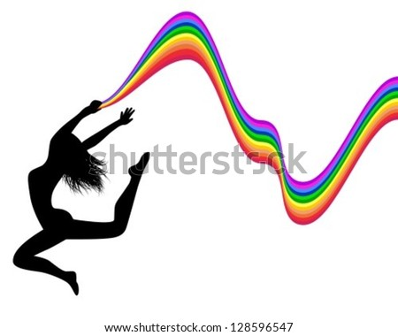 female silhouette jumping and holding a rainbow trail - stock vector